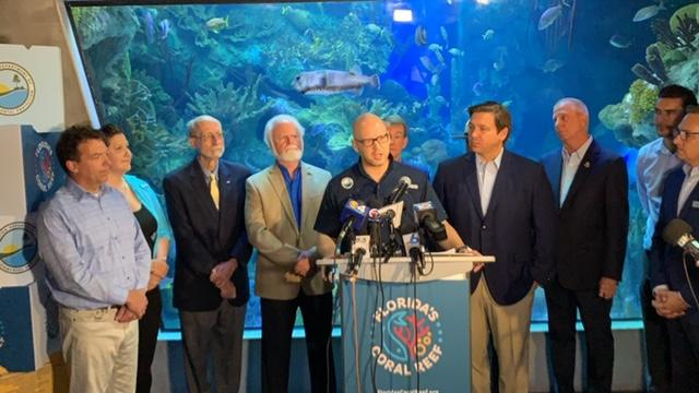 Governor Ron DeSantis was joined by DEP Secretary Noah Valenstein, FWC Executive Director Eric Sutton and other partners to kickoff 100 Yards of Hope and announce a new initiative to promote awareness and protection of Florida's Coral Reef ecosystem.